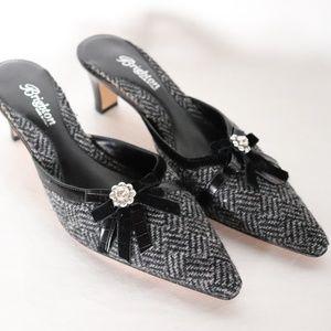 BRIGHTON Black Grey TWEED Heel Mules 6